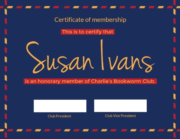 Book Club Certificate Of Membership