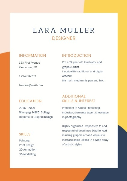 Online Simple Background Resume Resume Template Fotor Design Maker
