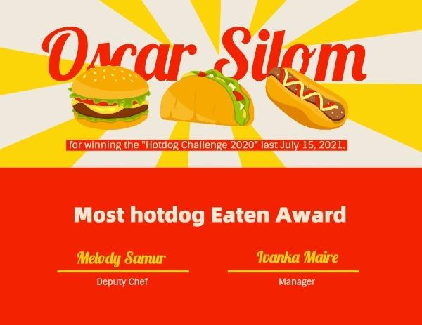 Hotdog Competition Certificate