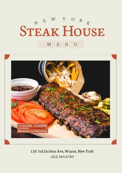 Steak House Menu Cover