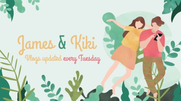 Green Leaves Background Couple's Daily Life Youtube Channel Art