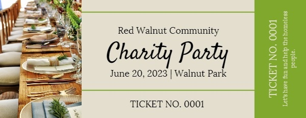 Simple Charity Dinner Party Ticket