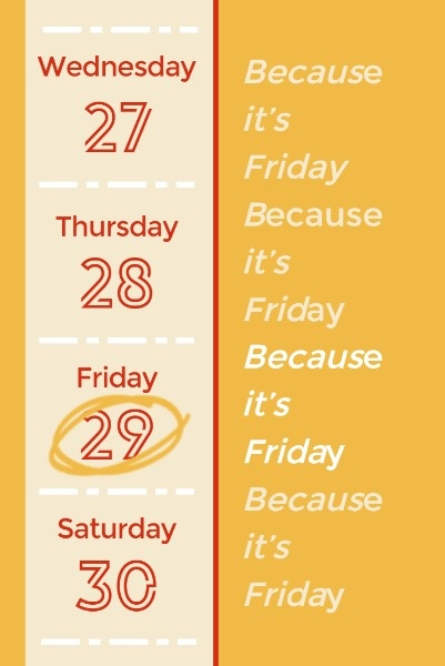 Yellow Black Friday Calendar