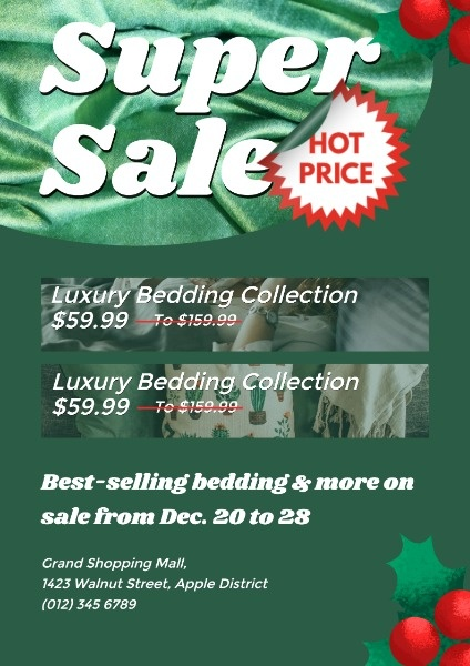 Green Bedding Store Super Sale