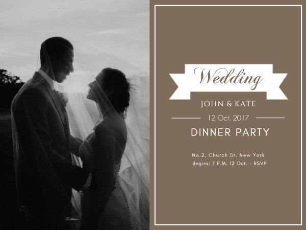 Online Wedding Dinner Party Invitation Card Template Fotor