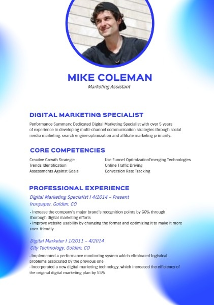 Marketing Assistant Blue Modern Resume