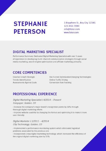 Digital Marketing Specialist Grey Simple Resume