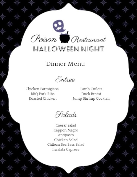 Black And White Halloween Special Menu