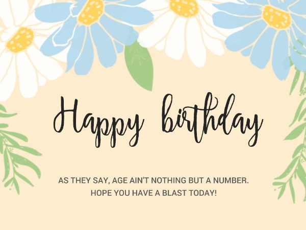 Yellow Refreshing Floral Birthday Card