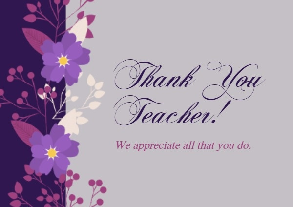 Purple Flower Thank You Teacher