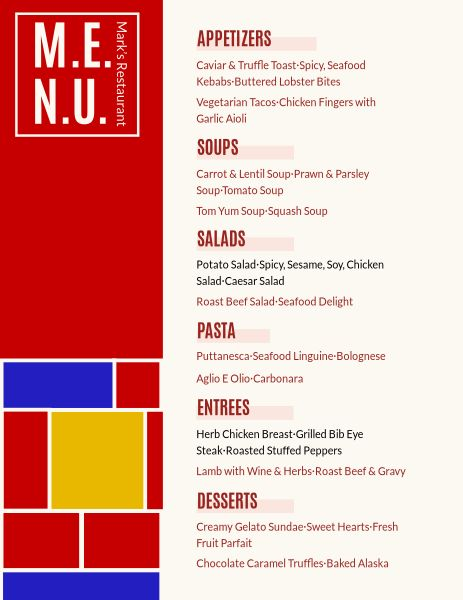 Red Restaurant Menu