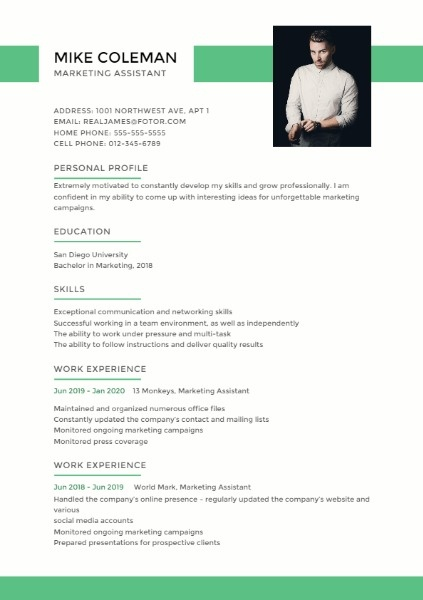 Marketing Assistant Simple Resume