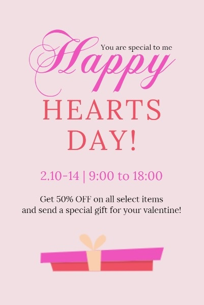 Pink Happy Heart Day Sale