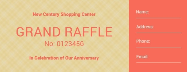 Orange Grand Market Raffle Ticket