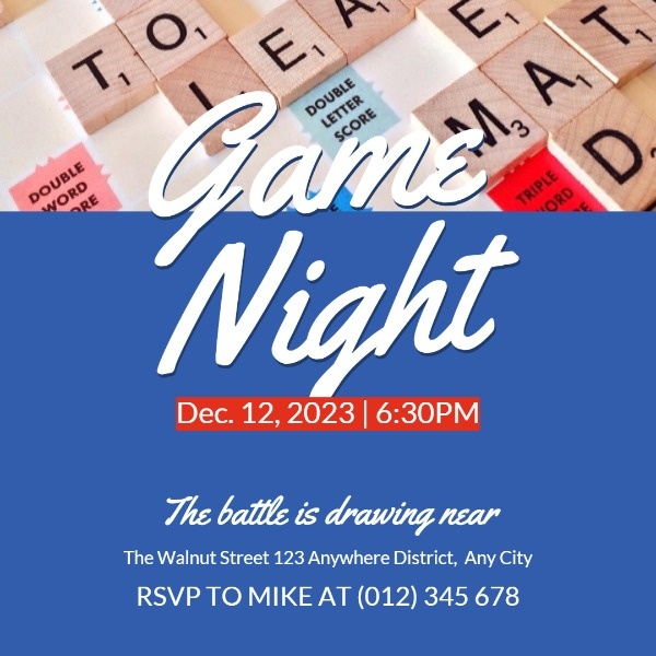 Blue Gaming Night Invitation