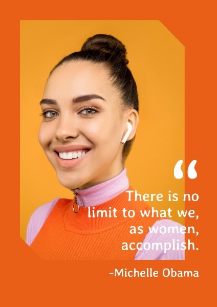 Orange Women Power Quote