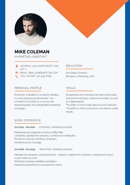 Marketing Assistant Blue Orange Simple Resume