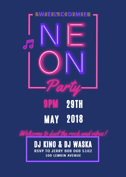 Online Neon Party Invitation Template Fotor Design Maker