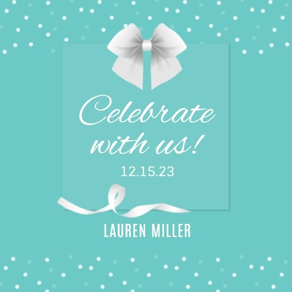 Blue Birthday Party Ribbon Invitation