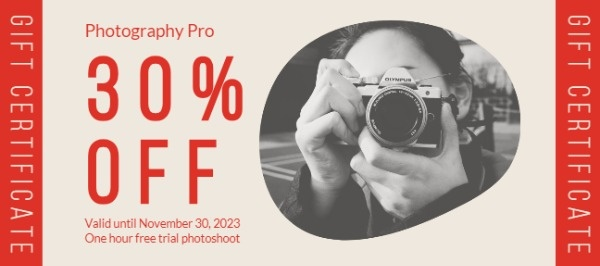 Photograph Sale Coupon