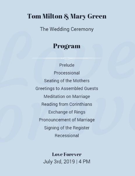 Online Wedding Ceremony Program Template Fotor Design Maker