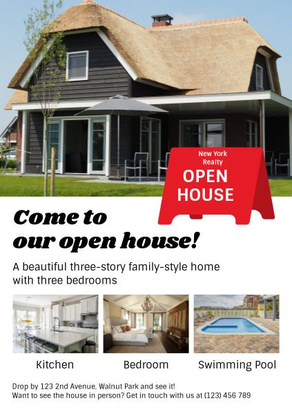 White Open House Promotion Poster