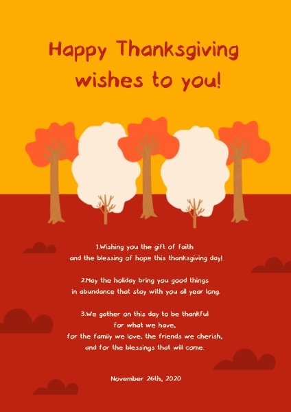 Red And Yellow Thanksgiving Wish Poster
