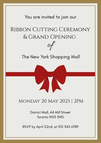 Simple Paper Ribbon Cutting Invitation