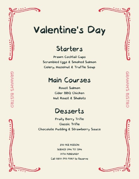 Pink Valentine Food Special Offer Sale Menu