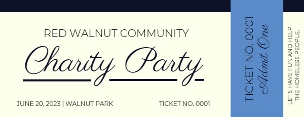 White Charity Party Ticket