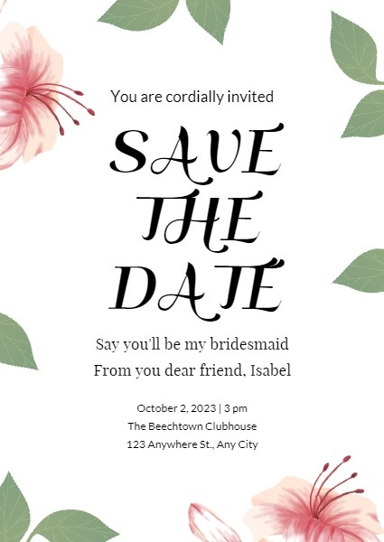 White Botanical Save The Date Invitation