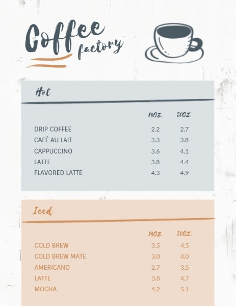 Coffee Factory White Blue Red Menu