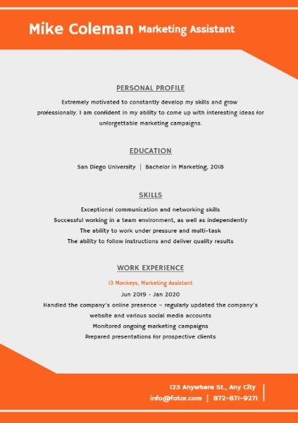 Marketing Assistant Orange Simple Resume