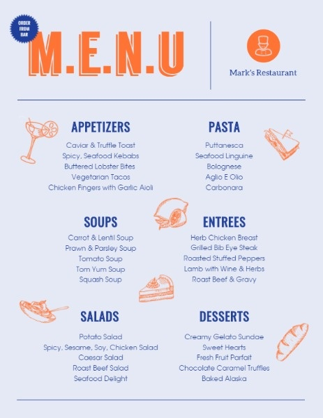 Orange And Blue Cafeteria Menu