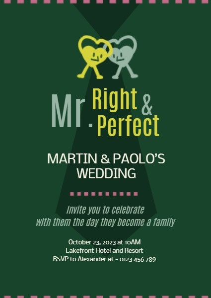Mr. Right And Mr. Perfect Wedding Invitation