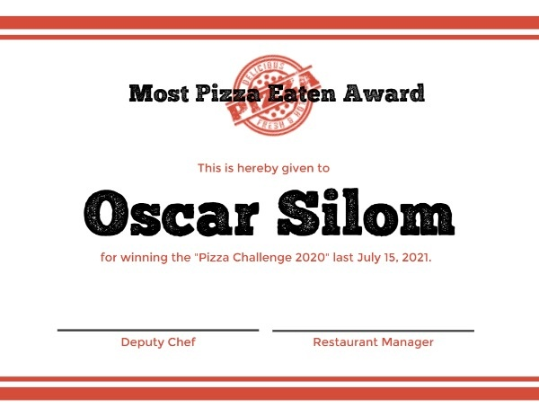Most Pizza Eaten Award Certificate