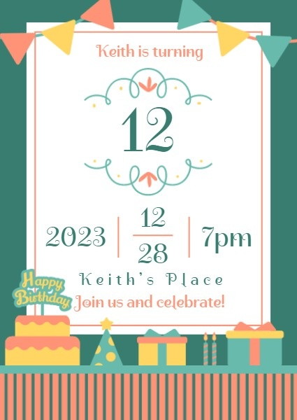 Green And White Kid Birthday Party Invitation