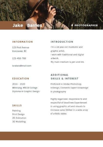 Photographer Brown Retro Simple Resume