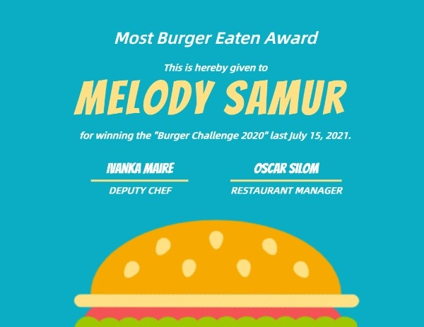 Blue Hamburger Food Competition Award