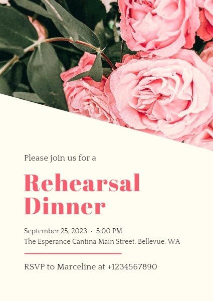 Pink Roses Rehearsal Dinner Invitation