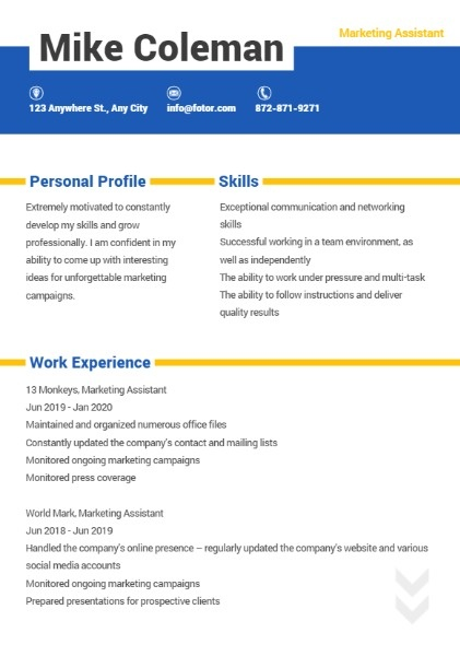 Marketing Assistant White Simple Resume