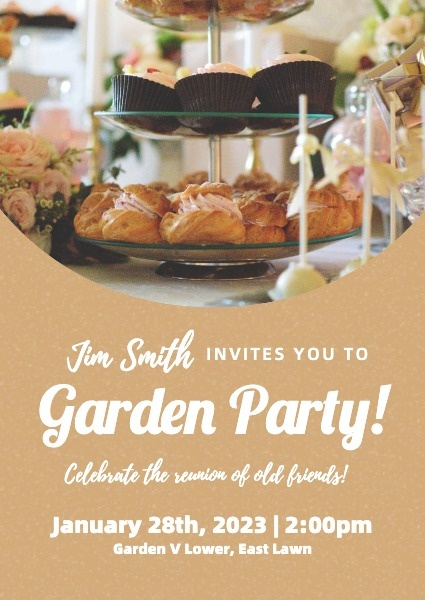Brown Garden Party Invite