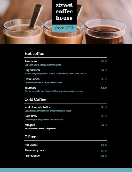 Black Coffee House Menu