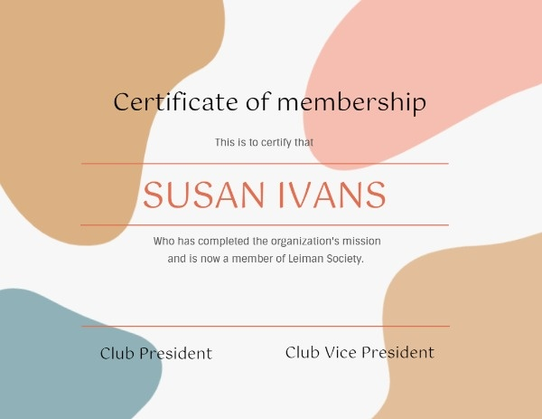 Colorful Certificate Of Membership
