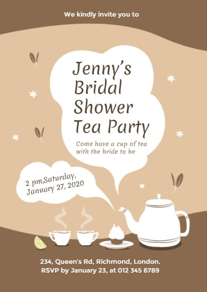 Online Afternoon Tea Bridal Shower Invitation Template Fotor
