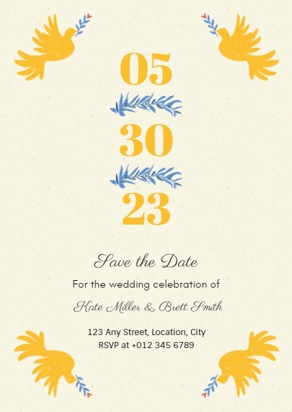 Light Yellow Sweet Wedding Invitation