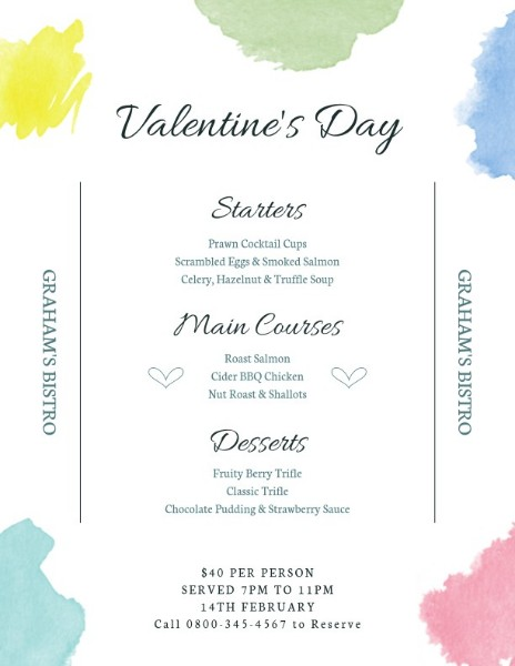 Simple Valentine Food Sale Menu