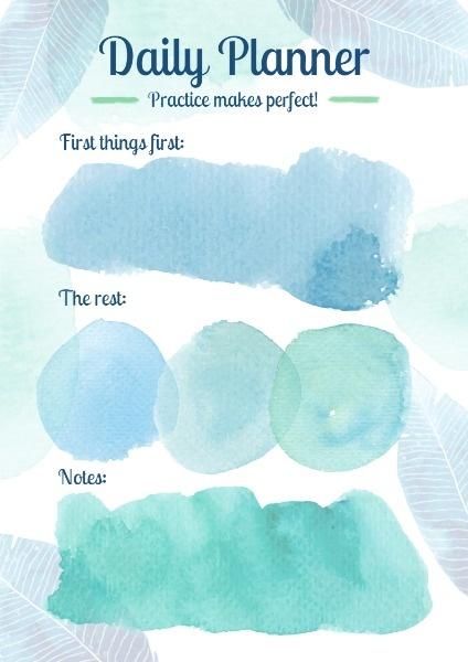Green Watercolor Daily Planner