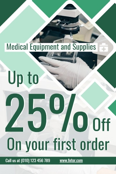 Green Background Of Medical Equipment Sale