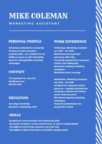 Marketing Assistant Blue Resume